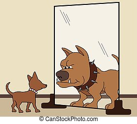 His Inner Dog - Small dog sees himself as large fierce...
