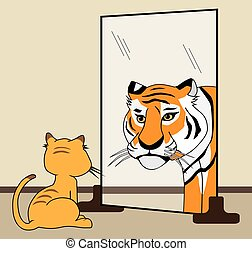 His Inner Tiger - House cat sees himself as fierce tiger in...