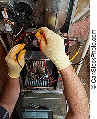 hispânico, ar condicionado, reparar homem, executar, manutenção