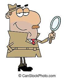 hispânico, caricatura, detetive, homem