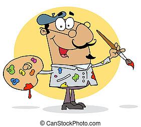 hispânico, caricatura, pintor, artista