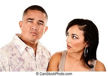 hispânico, esposa, olha, desconfiadamente, em, dela, marido