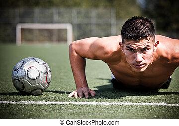 hispânico, futebol, ou, jogador de futebol