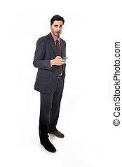 hispânico, móvel, homem negócios, etnicidade, jovem, retrato, telefone, incorporado, atraente, latim