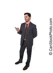 hispânico, móvel, homem negócios, etnicidade, jovem, retrato, telefone, incorporado, sorrindo, atraente, usando, latim