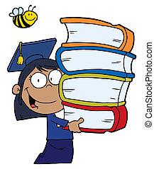 hispânico, menina escola, graduado
