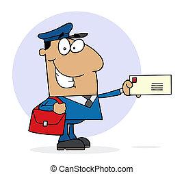 hispânico, trabalhador postal, feliz
