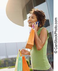 hispanic妇女, 购物袋
