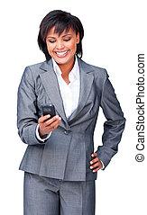 hispanic, överföring, affärskvinna, meddelande, ung