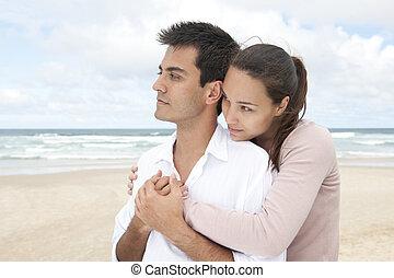 hispanic accouplent, plage, liaison