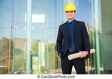 Hispanic architect on site