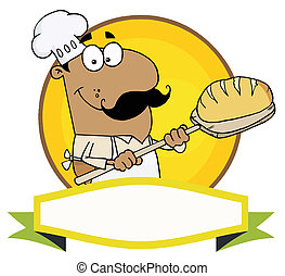 Hispanic Baker Holding Bread Over A Yellow Circle And Blank...