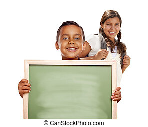 Hispanic Boy and Girl Holding Blank Chalk Board on White