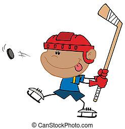 Hispanic Boy Playing Hockey
