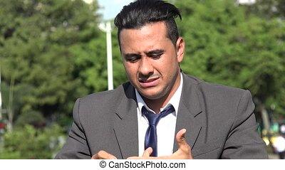 Hispanic Business Man And Soreness