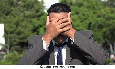 Hispanic Business Man Covering Ears Eyes Mouth