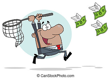 African American Businessman Chasing Money