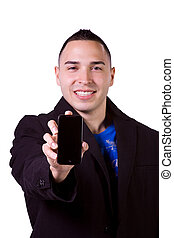 Hispanic Businessman Holding a Cell Phone - Isolated...