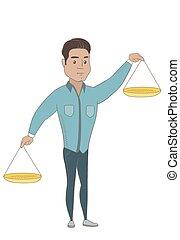 Hispanic businessman holding balance scale.