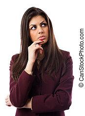 Hispanic businesswoman isolated on white