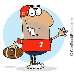 Hispanic Cartoon Football Man