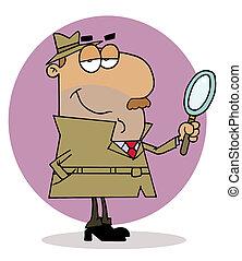 Hispanic Cartoon Investigator Man