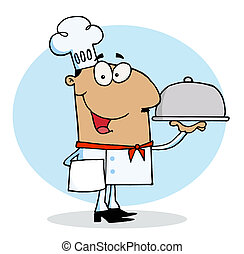Hispanic Chef Guy Serving Food - Friendly Hispanic Chef Guy...