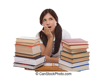Hispanic college student woman with stack of books
