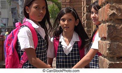 Hispanic Cute Kids Wearing School Uniforms