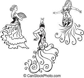 Women in hispanic dance. Set of black and white vector illustrations.