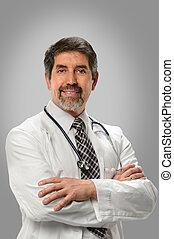 hispanic, doktor, uśmiechanie się