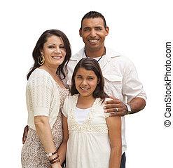 Hispanic Family Isolated on White - Hispanic Mother, Father...
