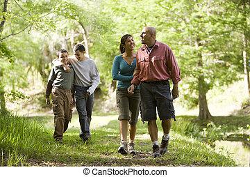 Hispanic family walking along trail in park - Happy Hispanic...