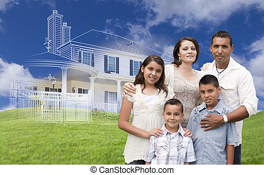 Hispanic Family with Ghosted House Drawing Behind