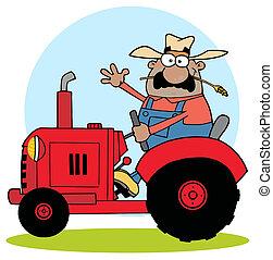 Hispanic Farmer Waving And Driving