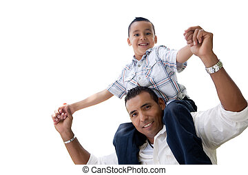 Hispanic Father and Son Having Fun Isolated on White