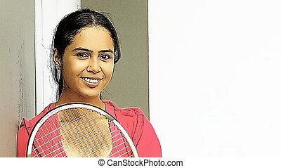 Hispanic Female Happy Tennis Player
