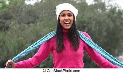 Hispanic Female Teen Cold Weather