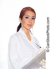 Hispanic Female Wearing Lab Coat While Holding Clipboard