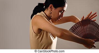 Hispanic female with fan
