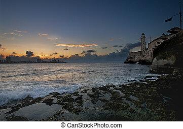 Hispanic fortress El Morro in Havana bay entrance