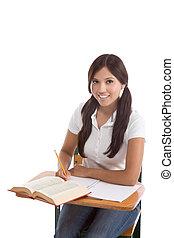 hispanic frau, student, studieren