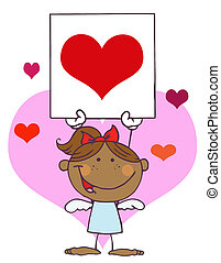Hispanic Girl Cupid Holding A Heart