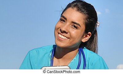 Hispanic Girl Happy Nurse