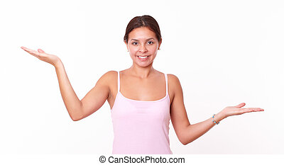 Hispanic girl holding her palms up