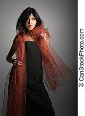 Hispanic Glamorous Woman With Copper Cape