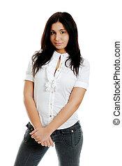 hispanic kobieta, krzyżowane ręki