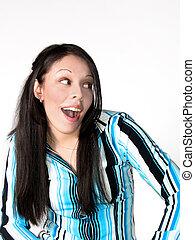 hispanic kobieta, młody, zdziwiony