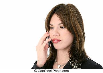 hispanic kobieta, telefon