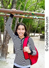 hispanic latin teenager girl backpack in Mexico park